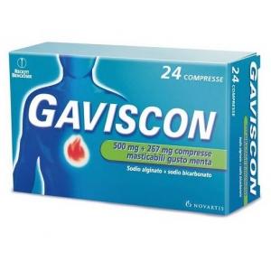 GAVISCON 500 MG + 267 MG COMPRESSE MASTICABILI GUSTO MENTA  24 COMPRESSE IN BLISTER