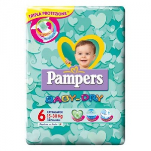 PANNOLINI PER BAMBINI PAMPERS BABY DRY DOWNCOUNT NO FLASH XL 15 PEZZI
