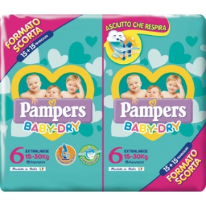 PAMPERS BABY DRY DUO DWCT XL 30 PEZZI