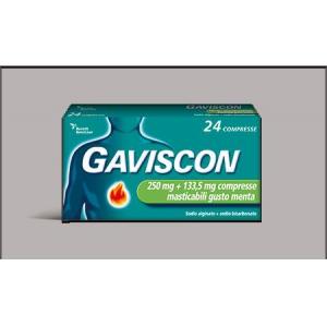 GAVISCON 250 MG + 133,5 MG COMPRESSE MASTICABILI GUSTO MENTA 24 COMPRESSE