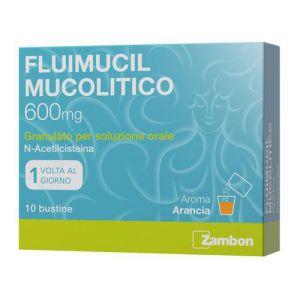 FLUIMUCIL MUCOLITICO 600 MG GRANULATO PER SOLUZIONE ORALE SENZA ZUCCHERO, 10 BUSTINE