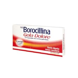 NEOBOROCILLINA GOLA DOLORE 8,75 MG PASTIGLIE SENZA ZUCCHERO GUSTO MENTA 16 PASTIGLIE