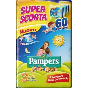 PAMPERS SOLE&LUNA TRIO MIDI 60 PEZZI